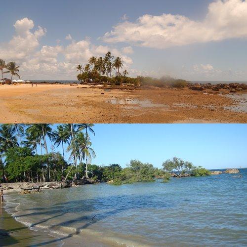 Fotos da 3ª praia. Primeira imagem na parte da manhã (9h30) e segunda as 15h30